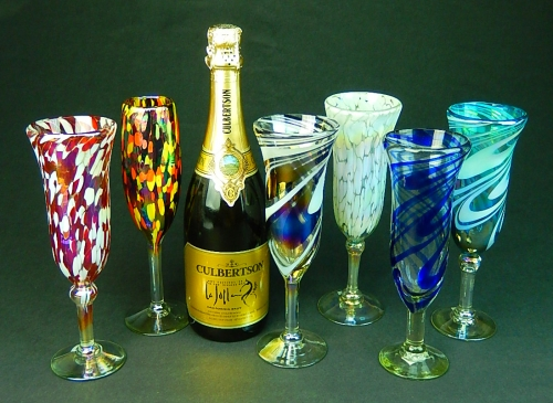 Champagne Glasses hand blown in Mexico