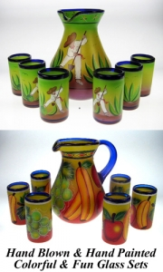 Mexican Glass Sets Hand Painted