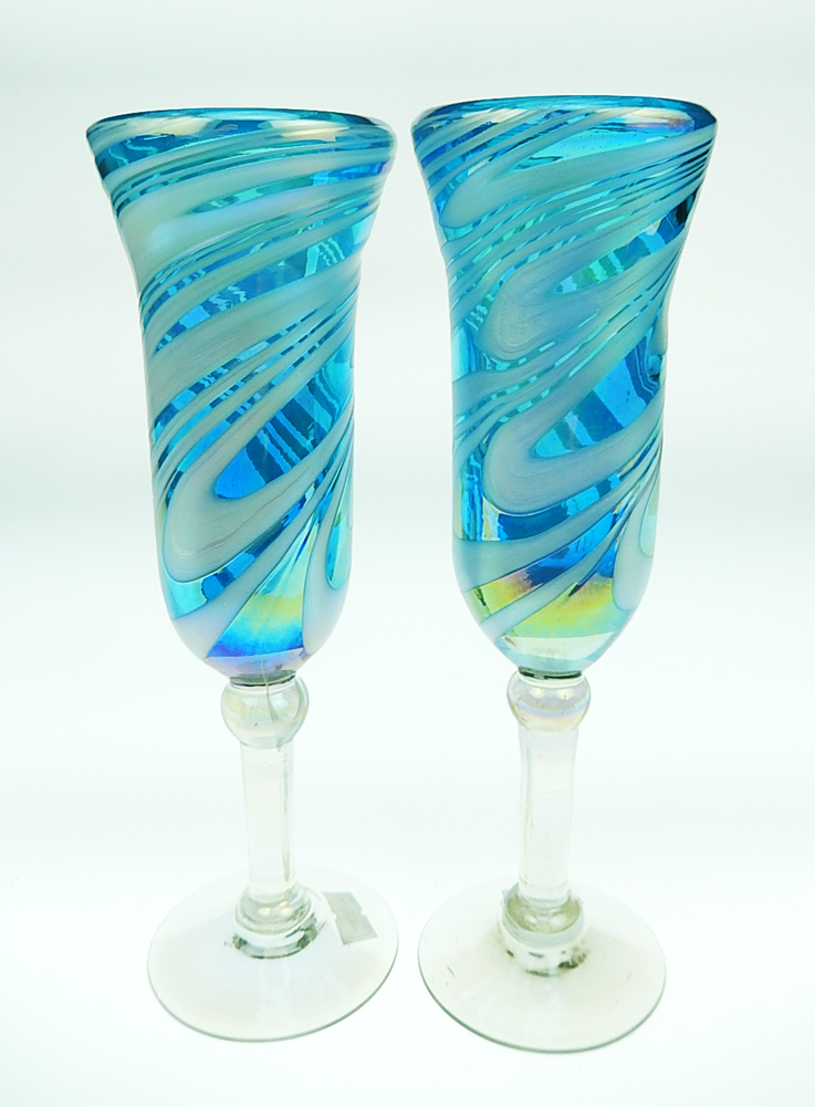 Champagne Flutes Hand Blown Turquoise Swirl Iridescent 2