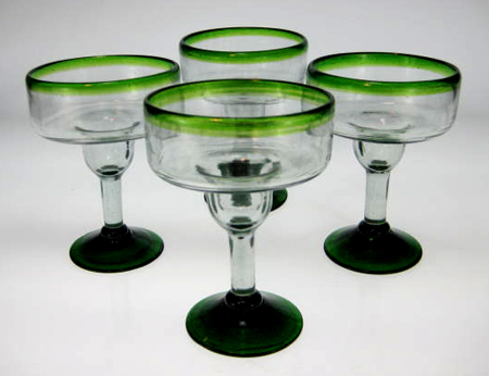 Mexican Margarita Glasses Green Rim Green Base Made In Mexico