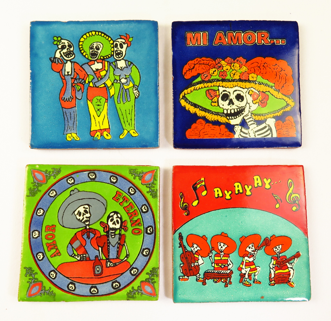 Home decor eye4art day of the dead talavera mexican tile hand painted dailygadgetfo Choice Image