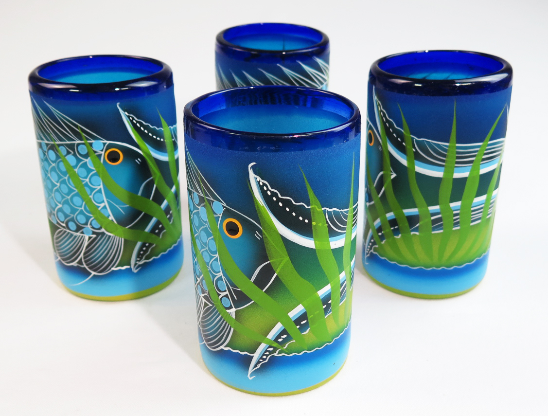 Mexican glass tumblers 16 oz set of four hand painted with for Painted glass fish