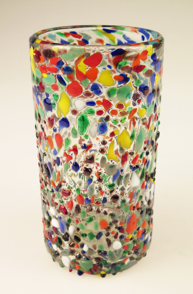 Mexican Glass Pebble Confetti 18oz Tumbler Made In Mexico