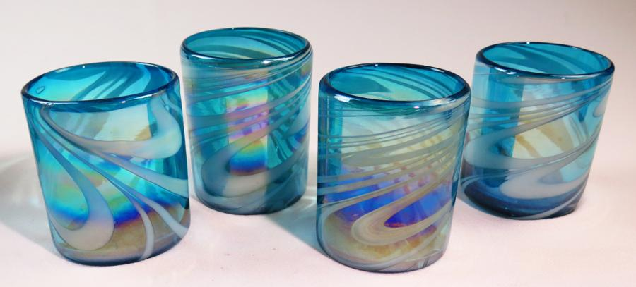 mexican glass tumblers set of four 12oz turquoise and white swirl iridescent