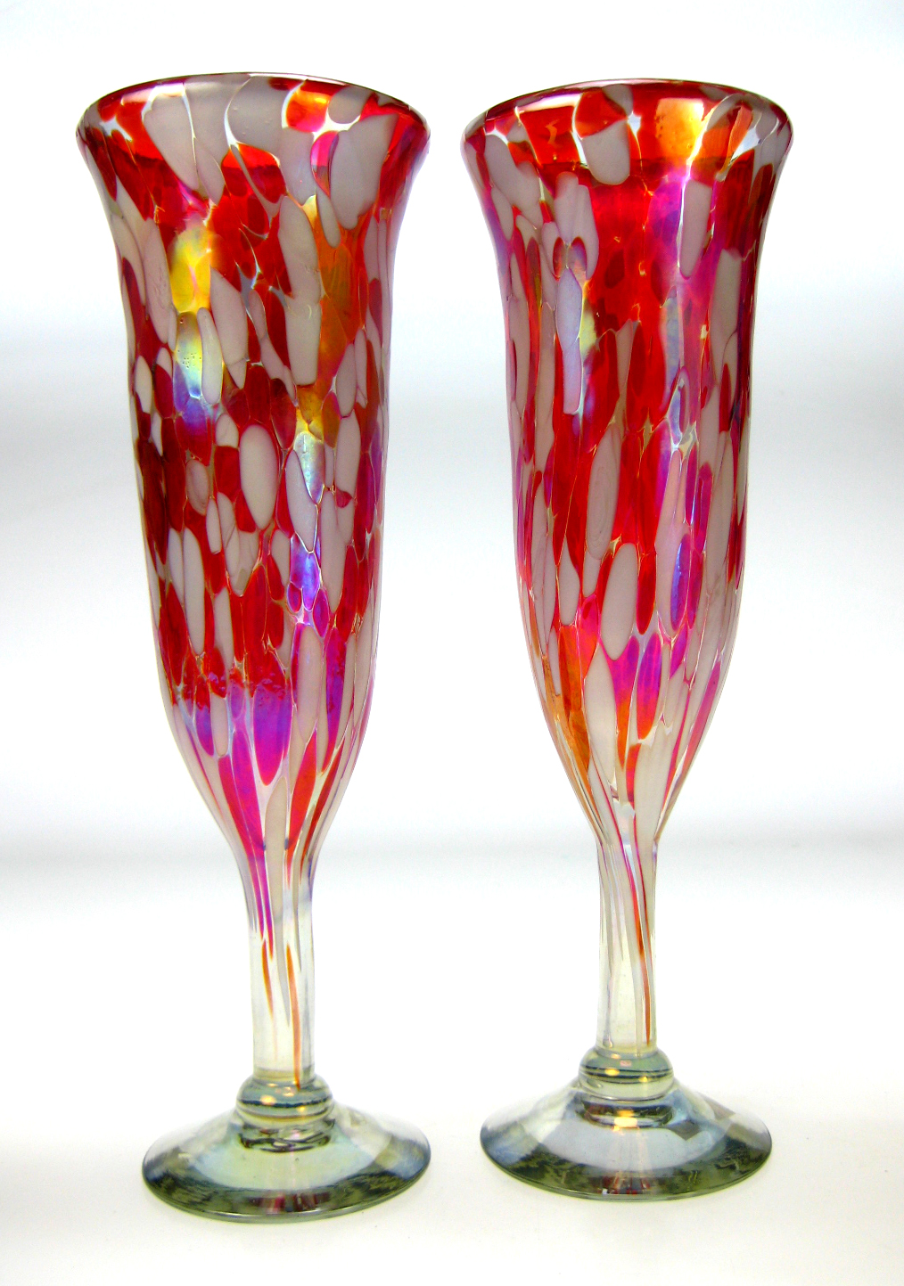 Champagne flute hand blown 8oz red white confetti - Hand blown champagne flutes ...