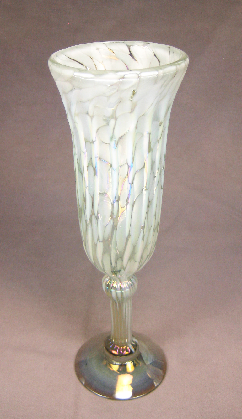 Champagne flutes hand blown white on white 6 - Hand blown champagne flutes ...