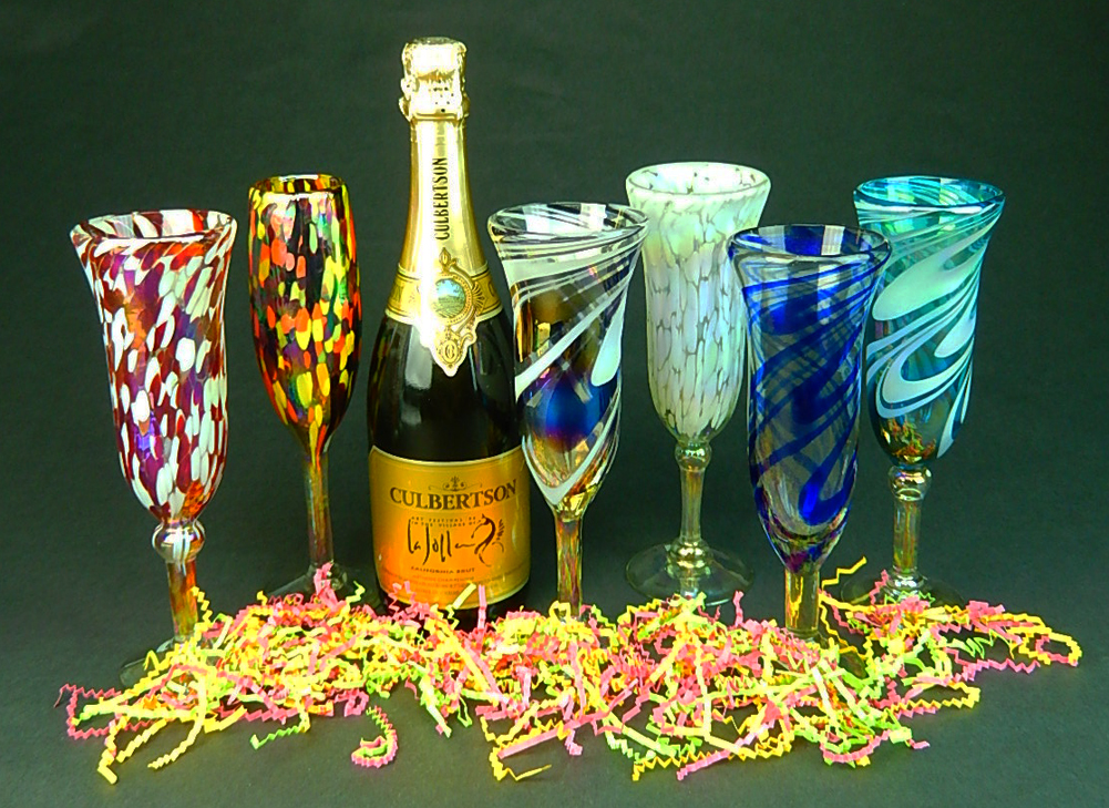 Champagne flutes hand blown white on white confetti made in mexico - Hand blown champagne flutes ...