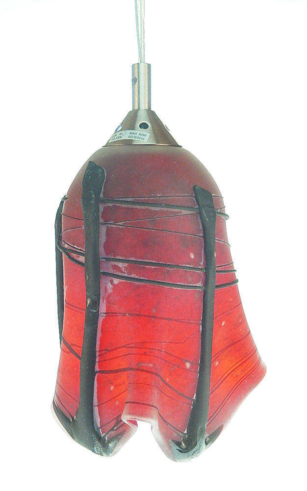 Hanging lamp red and black mexican glass lamp shade art glass made hanging lamp red and black turned off aloadofball Choice Image