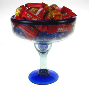 Mexican Glass Margarita Glass Extra Large Blue Rim Made In