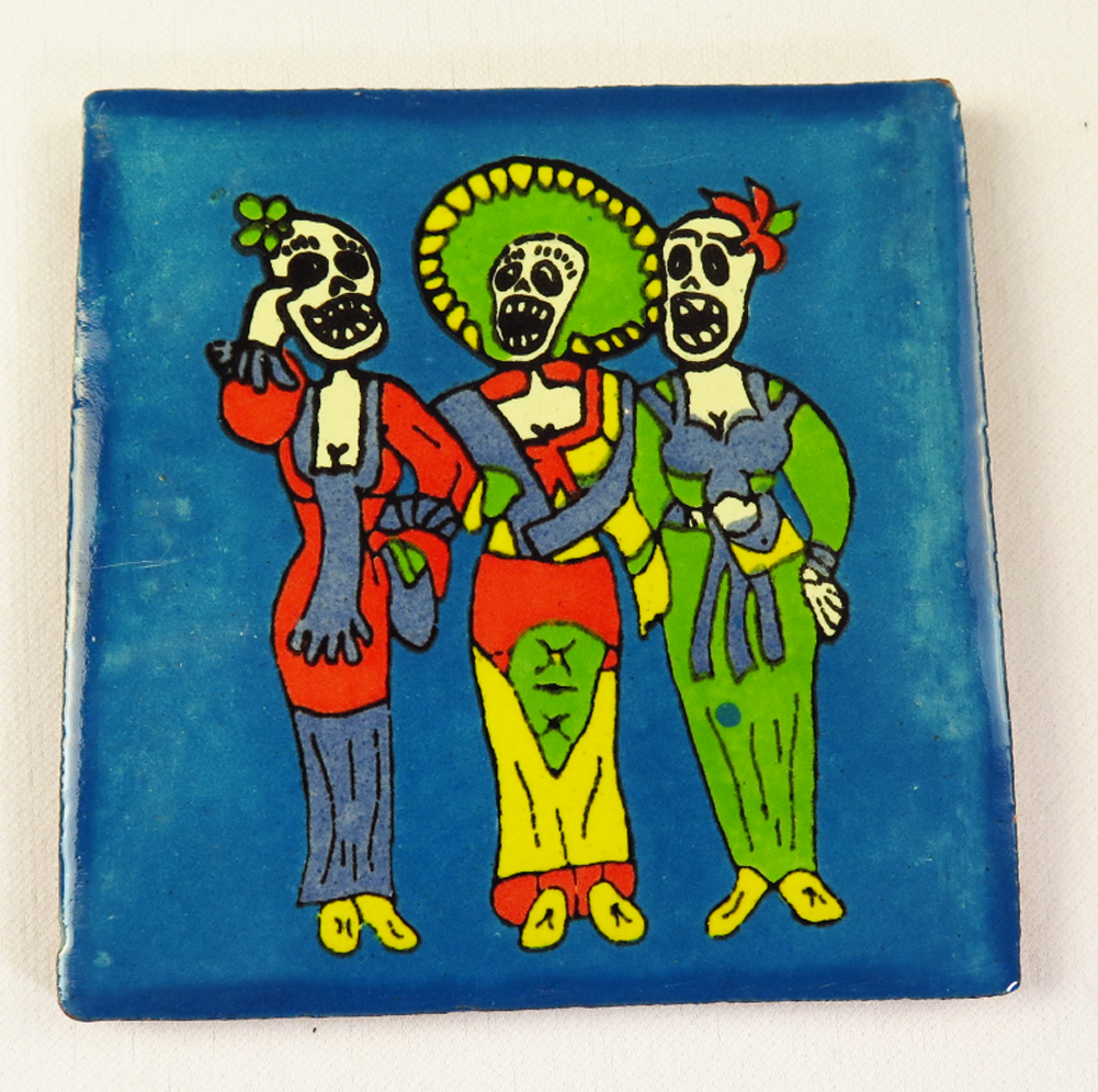 Day of the dead talavera mexican tile hand painted talavera mexican tile hand painted three singers dailygadgetfo Choice Image