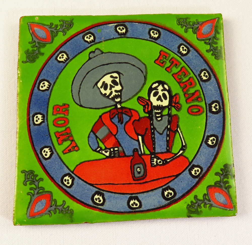 Day of the dead talavera mexican tile hand painted talavera mexican tile hand painted love eternal dailygadgetfo Choice Image