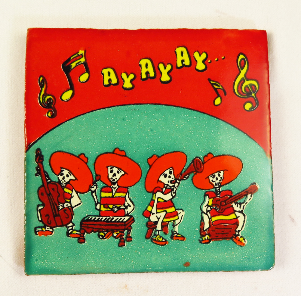 Day of the dead talavera mexican tile hand painted talavera mexican tile hand painted mariachis dailygadgetfo Choice Image