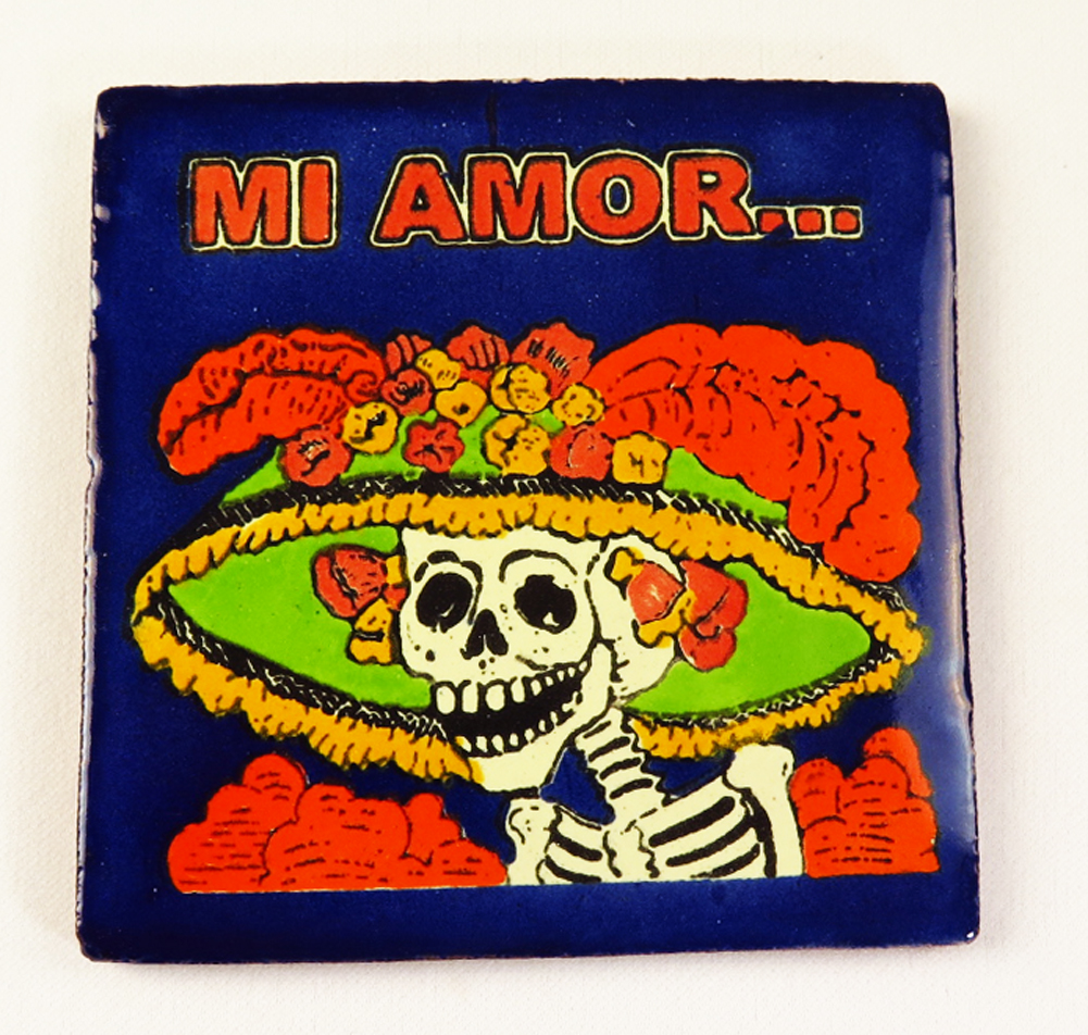 Day of the dead talavera mexican tile hand painted talavera mexican tile hand painted catrina dailygadgetfo Choice Image
