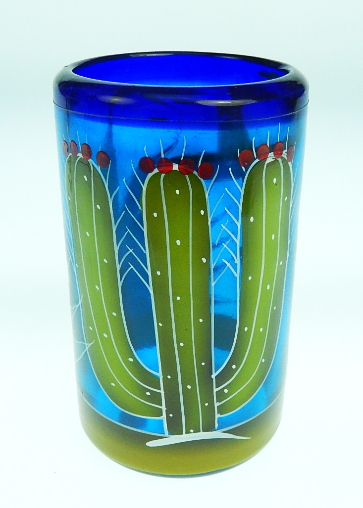 Mexican glass set six tumblers and pitcher hand painted for Hand painted drinking glasses
