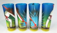 Mexican hand painted shot glasses pancho on blue