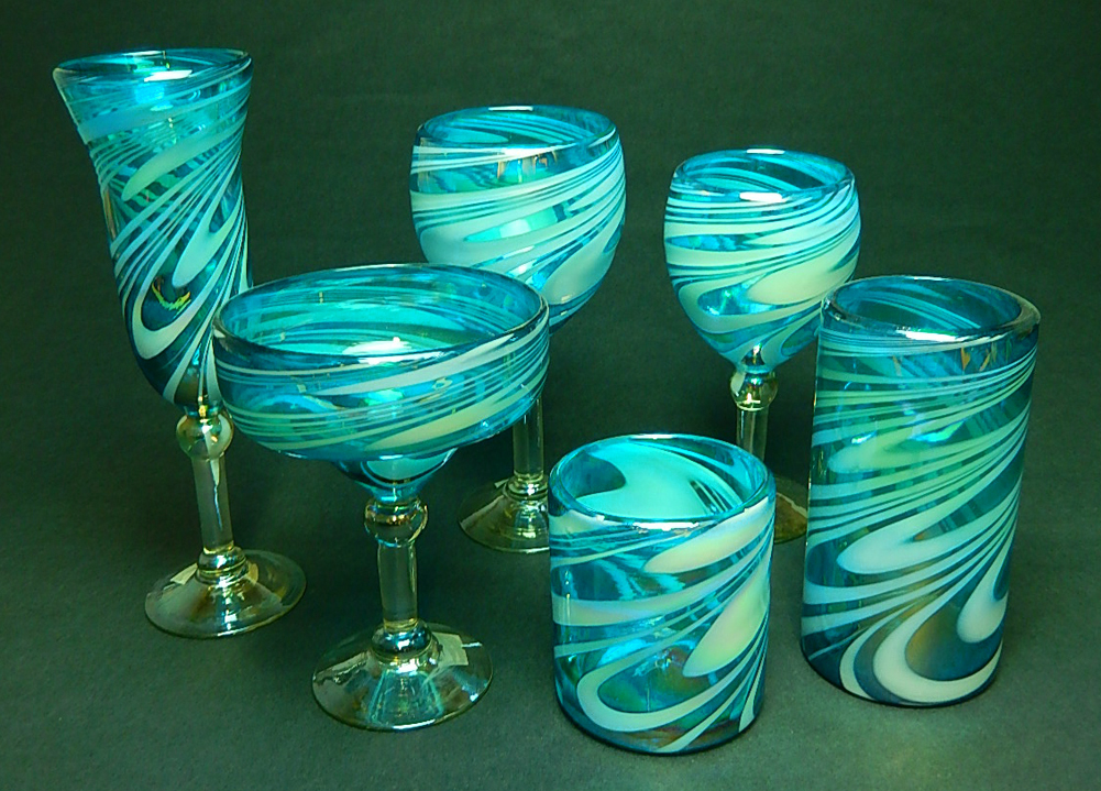 wine glass hand blown 12oz turquoise and white  hand
