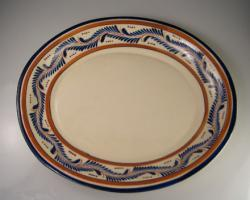 Server 11 Inch Round Blue & Brown Leaf Design