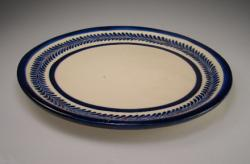 Plate Dinner 9 inch Round Blue and White