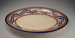 Serving Plate 9x12 Oval Blue and Brown Design
