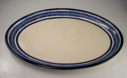 Server 9x14 Oval Blue on White Leaf Design