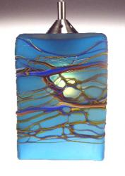 Lamp of blue art glass swirls