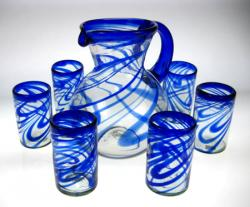 Blue Swirl Mexican Glasses (6) with matching Pitcher