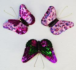 Tin Butterflies Three hand made in Mexico lavender