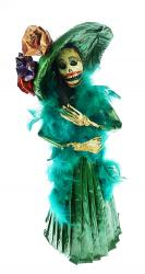 Catrina with Green Hat and Feather Boa 17 inches tall