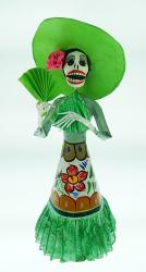 "Mexican Catrina Hand Painted with Green Fan and Hat  18"" Tall"