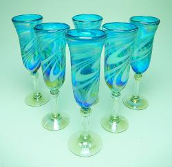 Champagne Flutes hand blown Turquoise Swirl Iridescent 6