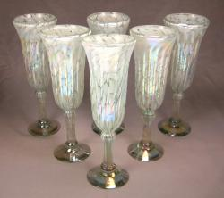 Champagne Flutes hand blown White on White  6