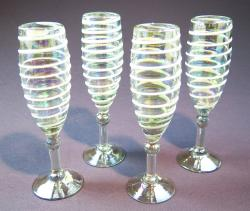 Champagne Flutes hand blown White Spiral set of four