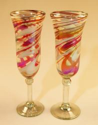 Champagne Flutes, Two Hand Blown Red White Swirl