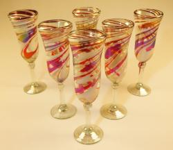 Champagne Flutes Hand Blown Red White Swirl 6