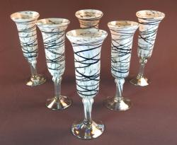 Champagne Flute, Hand Blown Chocolate vines on white confetti, set of Six