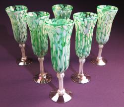Champagne Flutes hand blown Pistacio and White  6