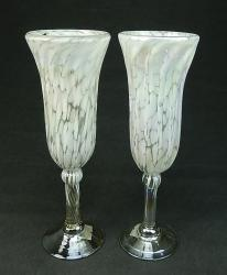 Champagne flutes White on white Confetti pair