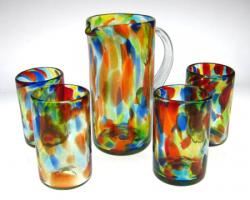 Mexican Glass Confetti Swirl or Liquid Confetti Drinking Glasses (16 oz.)& Matching Pitcher