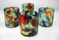 Mexican drinking Glasses,Set of Four(4) Multi Color Confetti,