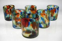 Set of Six(6) Multi Color Confetti, Mexican Drinking glasses