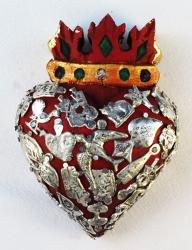 Crowned Heart carved wood with Milagros 4x5 Dove
