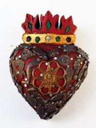 Crowned Heart carved wood with Milagros 4x5 Sun copper