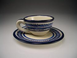 Cup and Saucer Blue and White