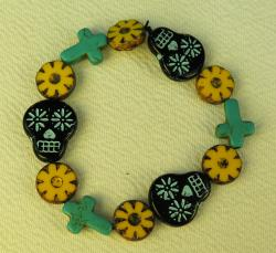 Day of the Dead Jewelry skulls crosses marigolds bracelet