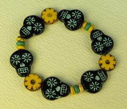 Day of the Dead Jewelry Black Glass skulls and yellow flowers bracelet