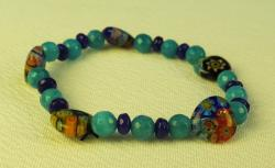 Day of the Dead Jewelry blue beads and hearts bracelet