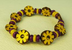 Day of the Dead Jewelry Marigolds and wood beads bracelet