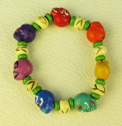 Day of the Dead Bracelet hand painted colorful skulls