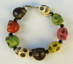 Day of the Dead Jewelry Large Skull Bracelet