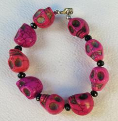 Day of the Dead Jewelry Large Skull Bracelet Pink and Red